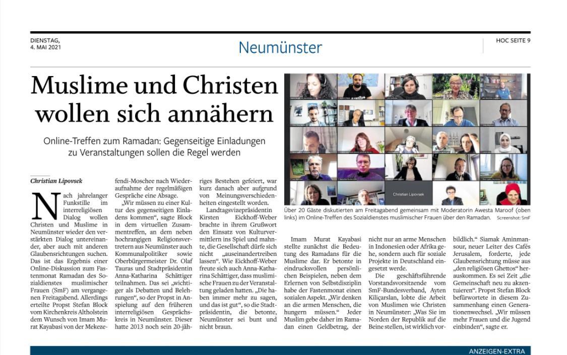 Holsteinischer Courier berichtet über Veranstaltung Ramadan in Neumünster